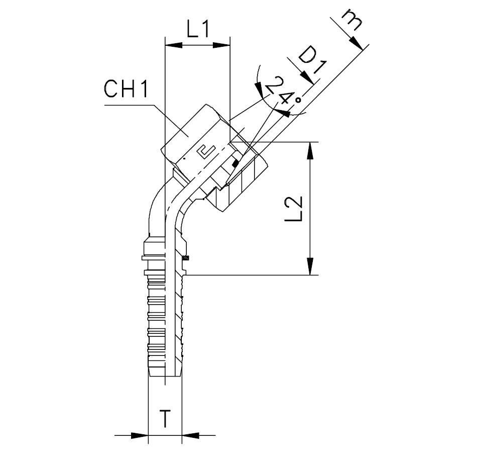 Фитинги DKO-L и DKO-S, гайка (внутренняя резьба), изгиб 45°