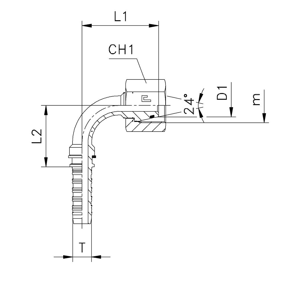 Фитинги DKO-L и DKO-S, гайка (внутренняя резьба), изгиб 90°