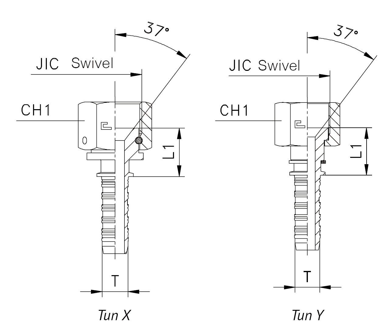 Фитинг JIC, накидная гайка (внутренняя резьба), прямой