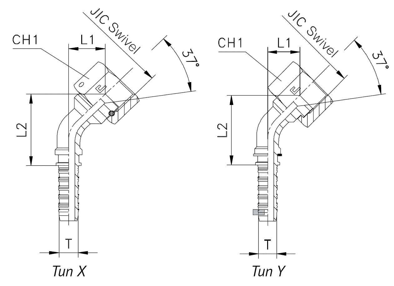 Фитинг JIC, накидная гайка (внутренняя резьба), изгиб 45°