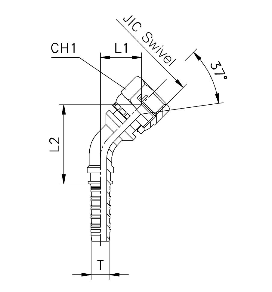 Фитинг JIC, обжатая гайка (внутренняя резьба), изгиб 45°