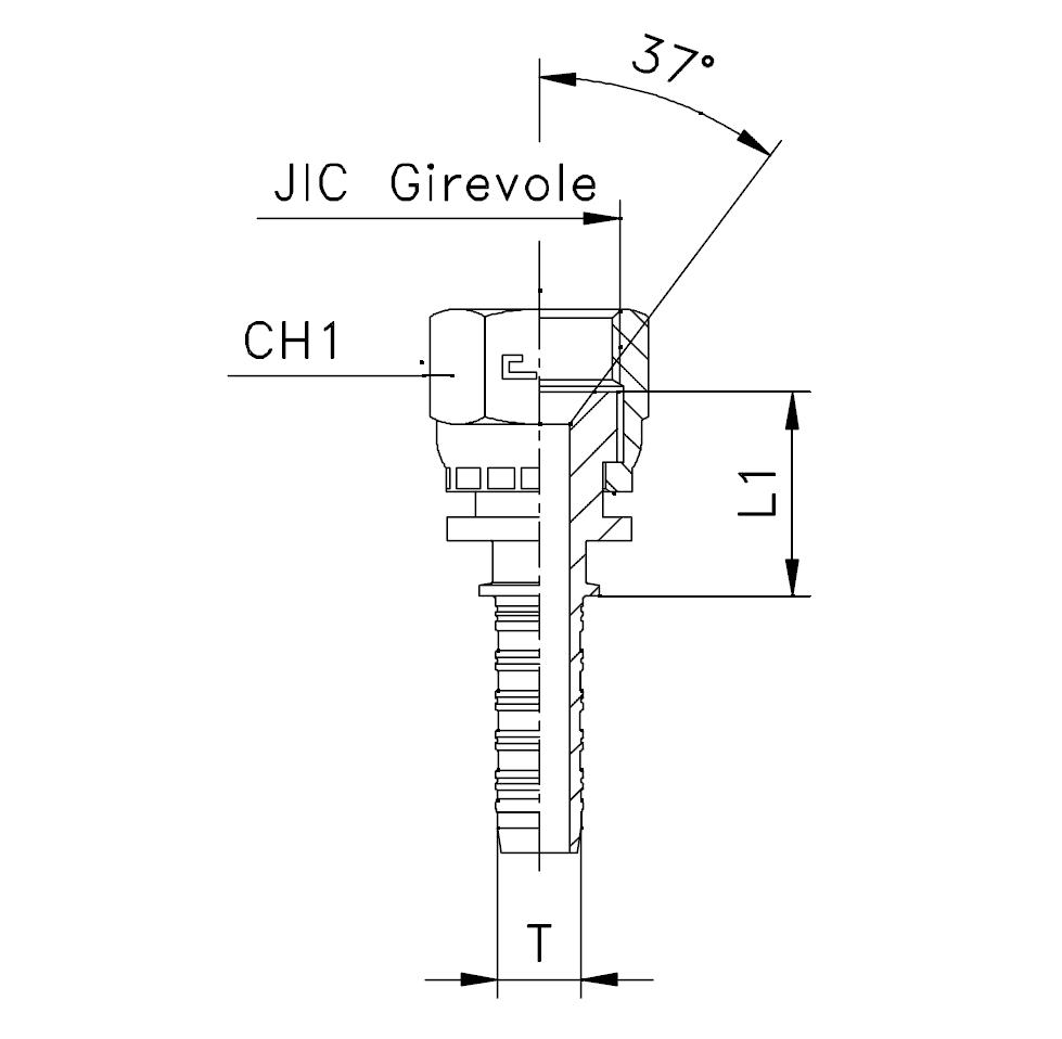 Фитинг JIC, обжатая гайка (внутренняя резьба), прямой