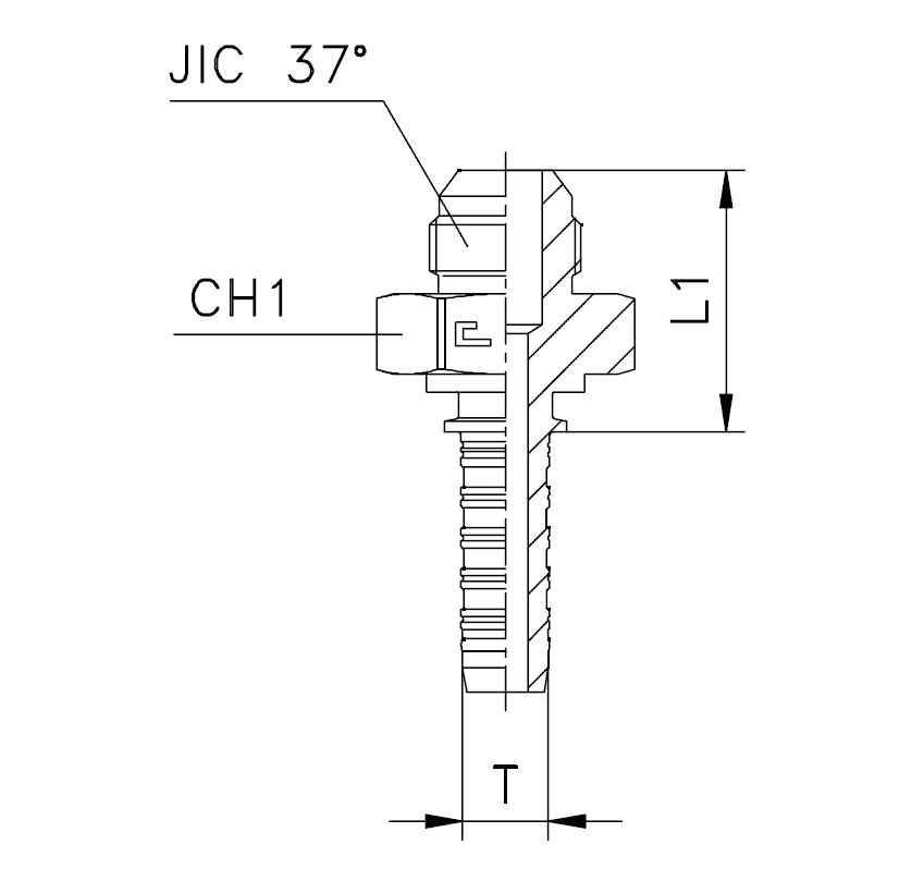 Фитинг JIC, штуцер (наружняя резьба), прямой