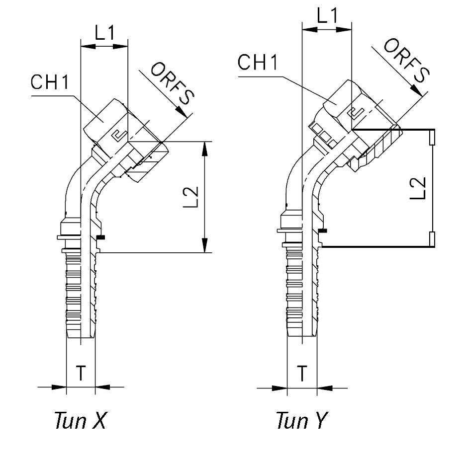 Фитинг ORFS гайка, изгиб 45°
