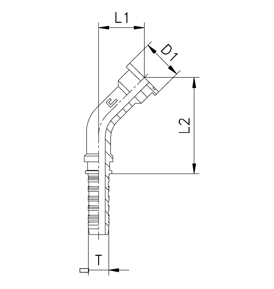 Фланец SFL, изгиб 45°