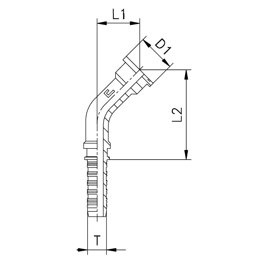 Фланец SFS, изгиб 45°