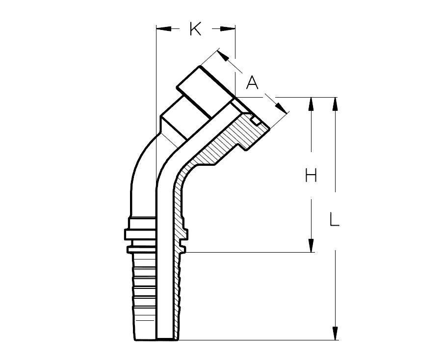 Фланец SUPERCAT, изгиб 45°